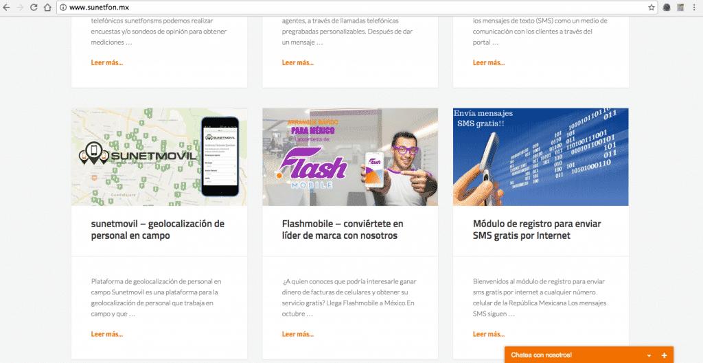 Banner de publicidad en sitio web para ofrecer mensajes de texto gratis