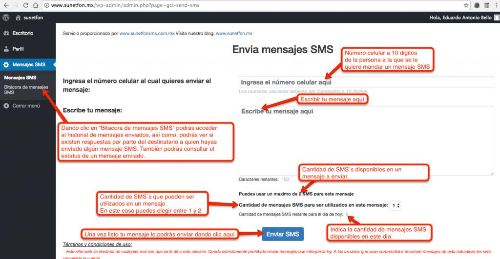 Módulo de envío de mensajes sms gratis