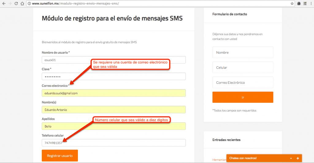 módulo de registro - mensajes sms gratis para promoción de tu sitio web