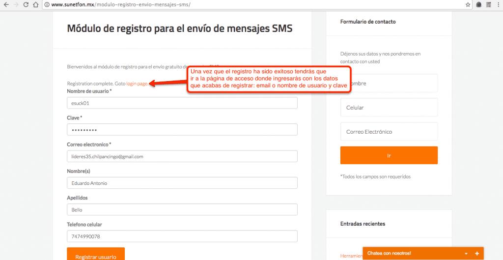 Módulo de registro 02 - mensajes sms gratis para promoción de tu sitio web