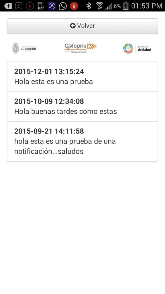 Sistema Integral de Automatización del Proceso de Verificación Sanitaria - COFEPRIS-Android APP-Pantalla de notificaciones