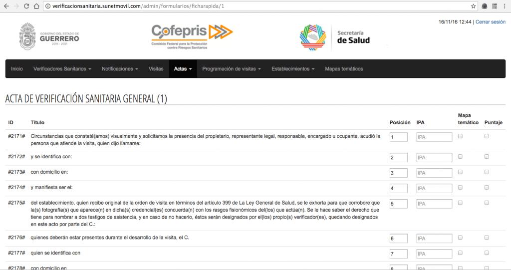 Sistema Integral de Automatización del Proceso de Verificación Sanitaria - COFEPRIS- Pantalla de actas 04