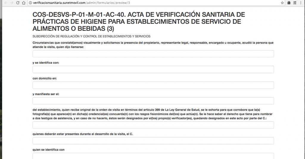 Sistema Integral de Automatización del Proceso de Verificación Sanitaria - COFEPRIS- Pantalla de actas 05