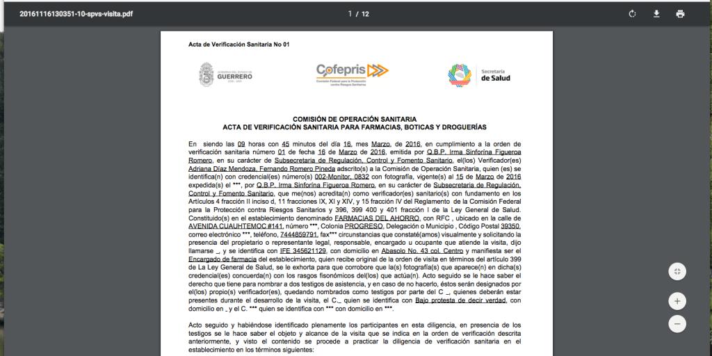 Sistema Integral de Automatización del Proceso de Verificación Sanitaria - COFEPRIS- Pantalla de actas 06