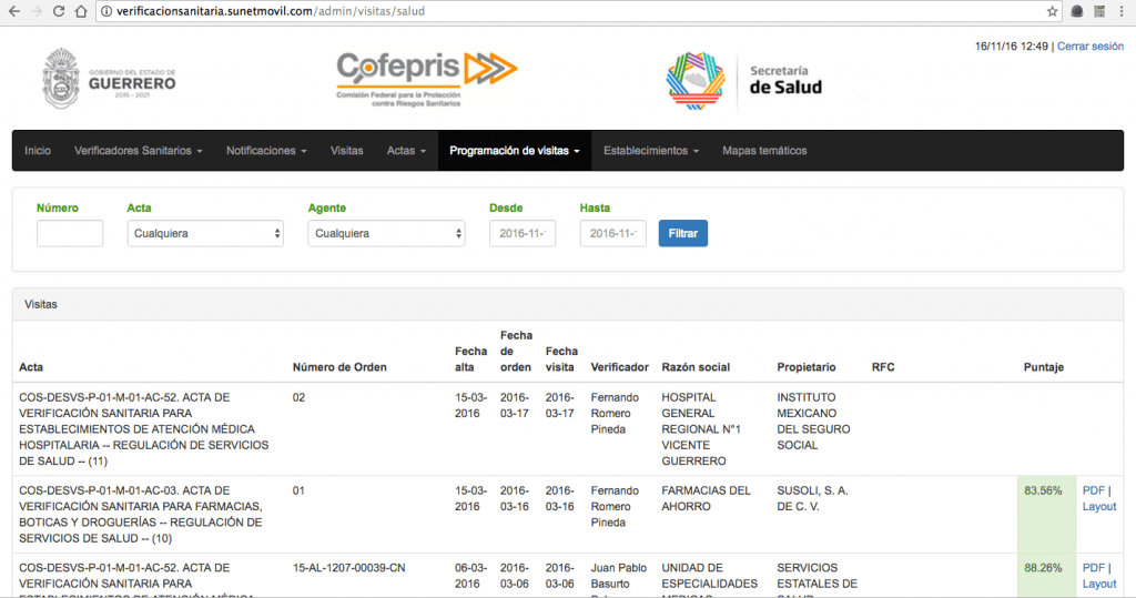 Sistema Integral de Automatización del Proceso de Verificación Sanitaria - COFEPRIS- Pantalla programación de visitas 01