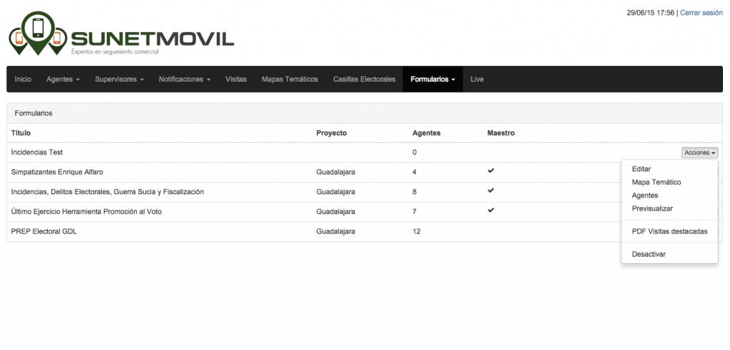 geolocalización de personal en campo sunetmovil - módulo formulario 02