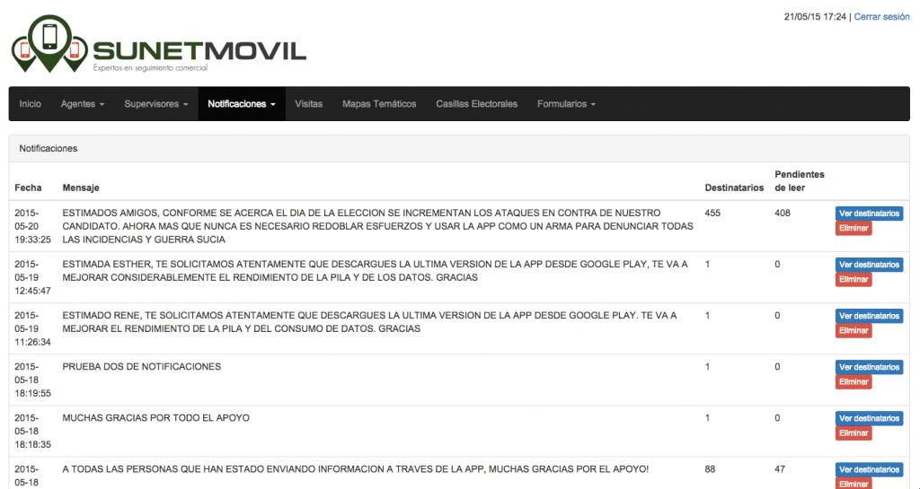 geolocalización de personal en campo sunetmovil - módulo notificaciones