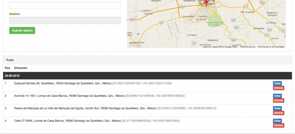 geolocalización de personal en campo sunetmovil - módulo rutas de los agentes