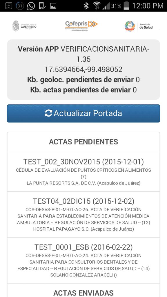 Sistema Integral de Automatización del Proceso de Verificación Sanitaria - COFEPRIS-Android APP-Pantalla de visitas programadas