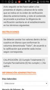 Sistema Integral de Automatización del Proceso de Verificación Sanitaria - COFEPRIS-Android APP-Pantalla de actas 05