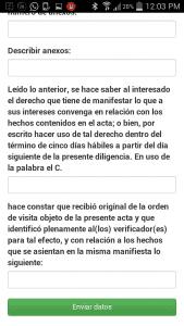 Sistema Integral de Automatización del Proceso de Verificación Sanitaria - COFEPRIS-Android APP-Pantalla de actas 10